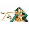 Gorilla Playsets Mountaineer Clubhouse Swing Set w/ Amber Posts and and Sunbrella Canvas Forest Green Canopy