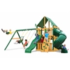 Gorilla Playsets Mountaineer Clubhouse Swing Set w/ Timber Shield and Deluxe Green Vinyl Canopy