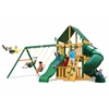 Gorilla Playsets Mountaineer Clubhouse Swing Set w/ Timber Shield and Sunbrella Canvas Forest Green Canopy