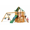 Gorilla Playsets Chateau Clubhouse Swing Set w/ Amber Posts and Deluxe Green Vinyl Canopy