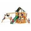Chateau Clubhouse Swing Set w/ Amber Posts and and Sunbrella Canvas Forest Green Canopy