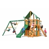 Gorilla Playsets Chateau Clubhouse Swing Set w/ Timber Shield and Deluxe Green Vinyl Canopy