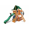 Gorilla Playsets Chateau Tower Swing Set w/ Amber Posts and Sunbrella Canvas Forest Green Canopy