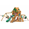 Gorilla Playsets Frontier Treehouse Swing Set w/ Fort Add-On & Amber Posts