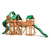 Treasure Trove Swing Set w/ Amber Posts and Deluxe Green Vinyl Canopy