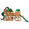 Gorilla Playsets Treasure Trove Swing Set w/ Amber Posts and and Sunbrella Canvas Forest Green Canopy