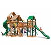 Gorilla Playsets Treasure Trove Swing Set w/ Timber Shield and Sunbrella Weston Ginger Canopy