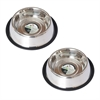 2 Pack Stainless Steel Non-Skid Pet Bowl for Dog or Cat - 16 oz - 2 cup