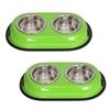 2 Pack Color Splash Stainless Steel Double Diner (Green) for Dog/Cat - 1/2 Pt - 8 oz - 1 cup