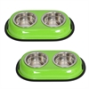 2 Pack Color Splash Stainless Steel Double Diner (Green) for Dog/Cat - 1 Qt - 32 oz - 4 cup