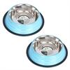 2 Pack Color Splash Stripe Non-Skid Pet Bowl for Dog or Cat - Blue - 24 oz - 3 cup