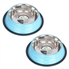 2 Pack Color Splash Stripe Non-Skid Pet Bowl for Dog or Cat - Blue - 96 oz - 12 cup