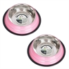 2 Pack Color Splash Stripe Non-Skid Pet Bowl for Dog or Cat - Pink - 64 oz - 8 cup