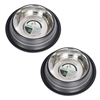 2 Pack Color Splash Stripe Non-Skid Pet Bowl for Dog or Cat - Black - 24 oz - 3 cup