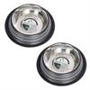 2 Pack Color Splash Stripe Non-Skid Pet Bowl for Dog or Cat - Black - 64 oz - 8 cup