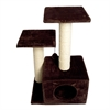 Sisal Scratching Tree with Square Cave and Two Posts - Brown