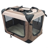Iconic Pet - Multipurpose Pet Soft Crate with Fleece Mat - Coffee/Khaki - Medium