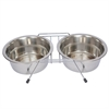 Iconic Pet - Stainless Steel Double Diner with Wire Stand for Dog or Cat - 1/2 Pt - 8 oz - 1 cup