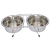 Stainless Steel Double Diner with Wire Stand for Dog or Cat - 2 Qt - 64 oz - 8 cup