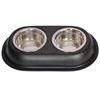 Color Splash Stainless Steel Double Diner (Black) for Dog/Cat - 1 Pt - 16 oz - 2 cup