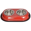 Color Splash Stainless Steel Double Diner (Red) for Dog/Cat - 1 Qt - 32 oz - 4 cup