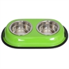 Color Splash Stainless Steel Double Diner (Green) for Dog/Cat - 1 Qt - 32 oz - 4 cup