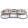Iconic Pet - Heavy Duty Pet Double Diner for Dog or Cat  (Bone Design) - 1 Qt - 32 oz – 4 cup