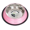 Iconic Pet - Color Splash Stripe Non-Skid Pet Bowl 24 oz - Pink