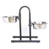 Iconic Pet - Adjustable Stainless Steel Pet Double Diner for Dog (U Design) - 2 Qt - 64 oz - 8 cup