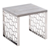 Skyline Grey wash End Table in Brushed Steel finish