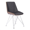 Pandora Chair in Chrome finish with Walnut wood and Charcoal Fabric upholstery