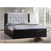 FULL LEATHER PLATFORM BED - BLACK-WHITE H43""