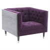 Bellagio Sofa Chair in Black Wash Wood finish with Shiny Silver Legs Caps and Purple Fabric upholstery