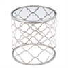 Florence End Table in Brushed Silver finish with Clear Glass Top