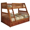 Twin over Full Bunkbed with 3 Underbed Drawers and two Mattresses in honey