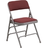 Flash Furniture HERCULES Series Curved Triple Braced & Double Hinged Burgundy Patterned Fabric Upholstered Metal Folding Chair
