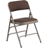 Flash Furniture HERCULES Series Curved Triple Braced & Double Hinged Brown Patterned Fabric Upholstered Metal Folding Chair
