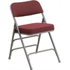 HERCULES Series Premium Curved Triple Braced & Double Hinged Burgundy Fabric Upholstered Metal Folding Chair