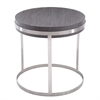 Sunset End Table in Brushed Steel finish with Grey Top