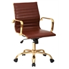 Faux Leather Mid Back Arm Chair