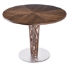 "Crystal 48"" Round Dining Table in Walnut Veneer column and Brushed Stainless Steel finish with Walnut Veneer Wood Top"