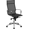 High Back Transparent Black Mesh Executive Swivel Chair with Synchro-Tilt Mechanism and Arms