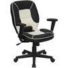 Mid-Back Black and Cream Vinyl Steno Executive Swivel Chair with Adjustable Arms
