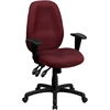 High Back Burgundy Fabric Multi-Functional Ergonomic Executive Swivel Office Chair with Height Adjustable Arms