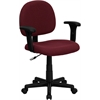 Low Back Ergonomic Burgundy Fabric Swivel Task Chair with Height Adjustable Arms