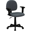 Flash Furniture Low Back Ergonomic Gray Fabric Swivel Task Chair with Height Adjustable Arms