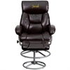 Flash Furniture Personalized Contemporary Brown Leather Recliner and Ottoman with Metal Base