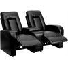 Eclipse Series 2-Seat Motorized, Push Button & Automated Reclining Black Leather Theater Seating Unit with Cup Holders