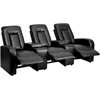 Eclipse Series 3-Seat Motorized, Push Button & Automated Reclining Black Leather Theater Seating Unit with Cup Holders