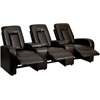 Eclipse Series 3-Seat Motorized, Push Button & Automated Reclining Brown Leather Theater Seating Unit with Cup Holders